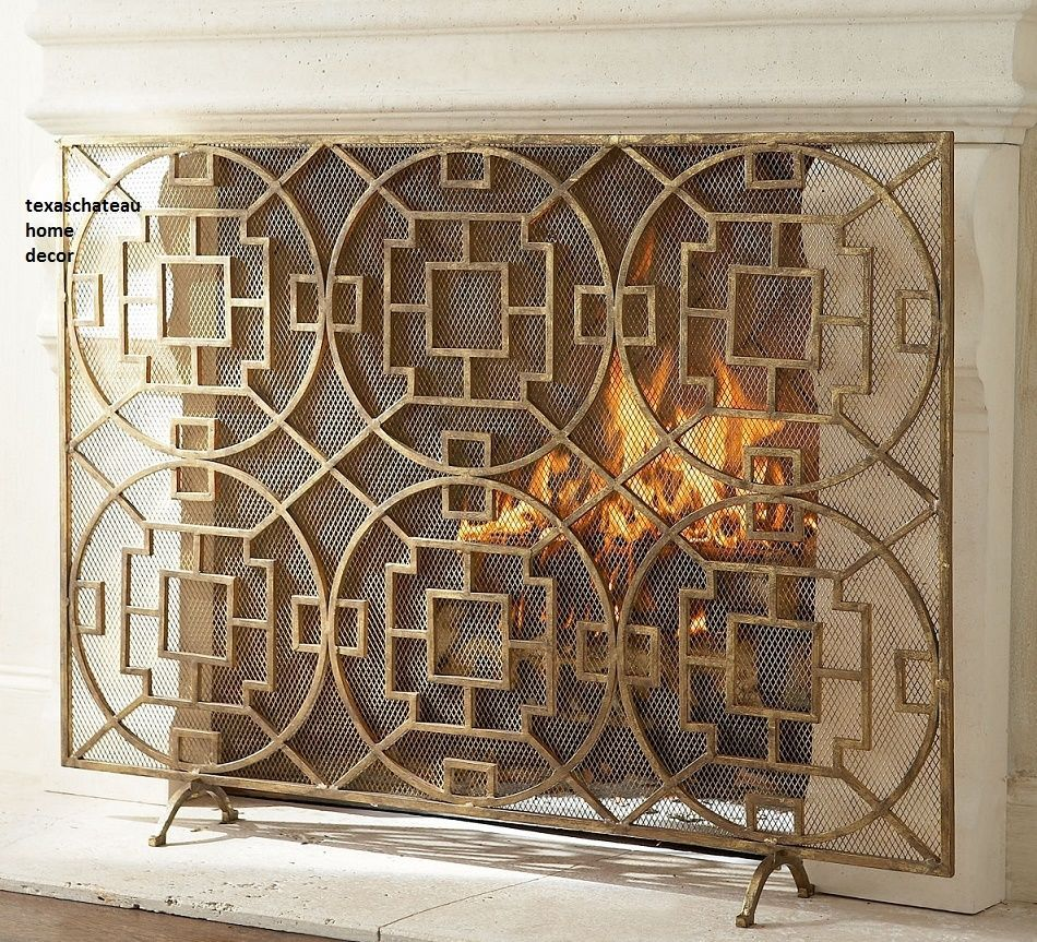 Details about MODERN FRENCH CHINESE CHIPPENDALE FIREPLACE SCREEN