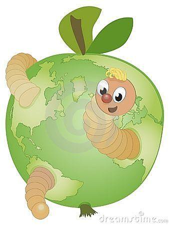 Un globe de pomme avec un ver de terre dr le de dessin - Dessin de ver de terre ...