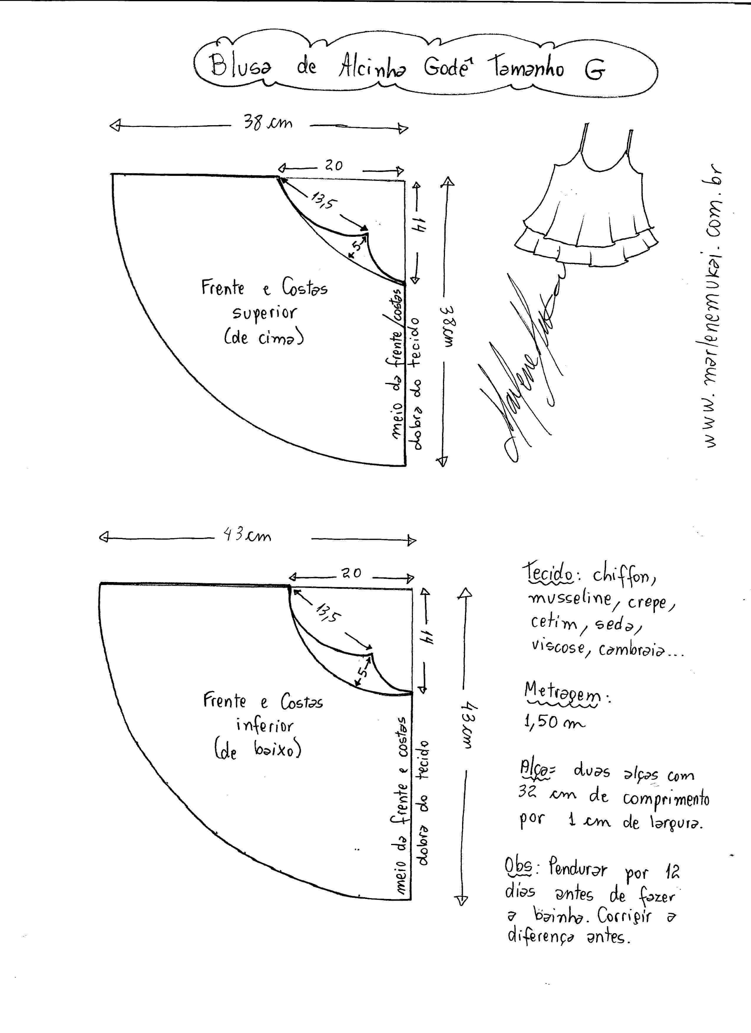 4a5097bf4 Patrón Blusa Top con tirantes para verano | Ideas de tejidos ...