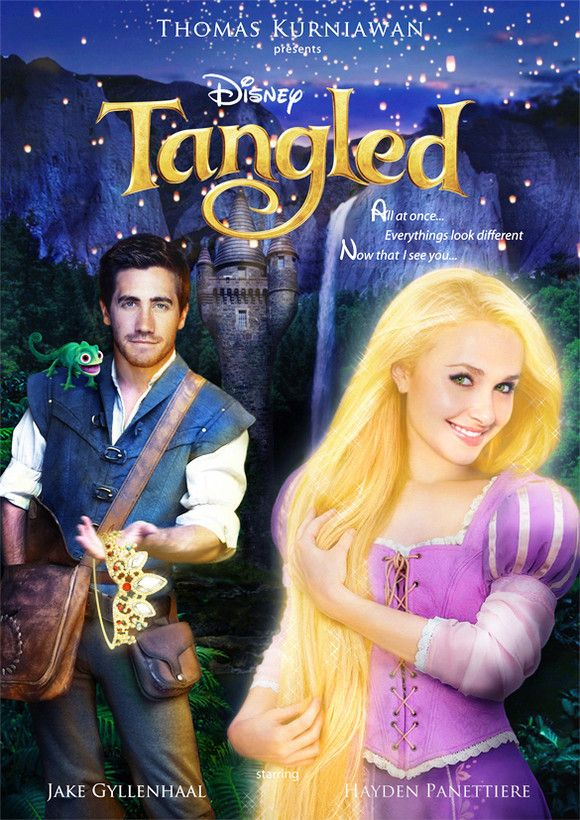 Jake gyllenhaal as flynn rider and hayden panettiere as rapunzel in tangled fan made poster - Raiponce et flynn rider ...
