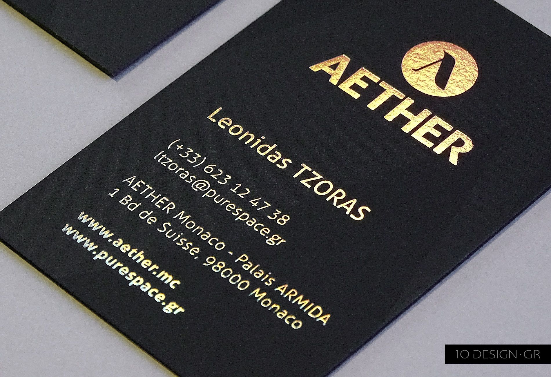 Laminated formal black business cards, with letterpress process on ...