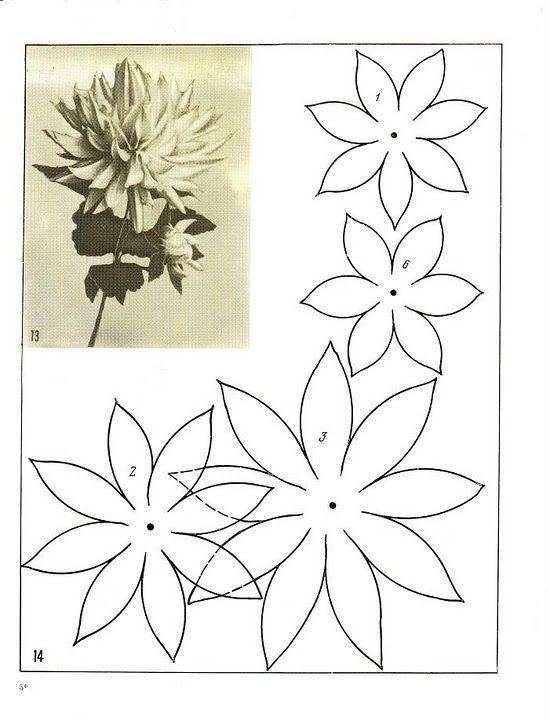 beschrijving van de vervaardiging van kleuren tkani14 craft - flower petal template
