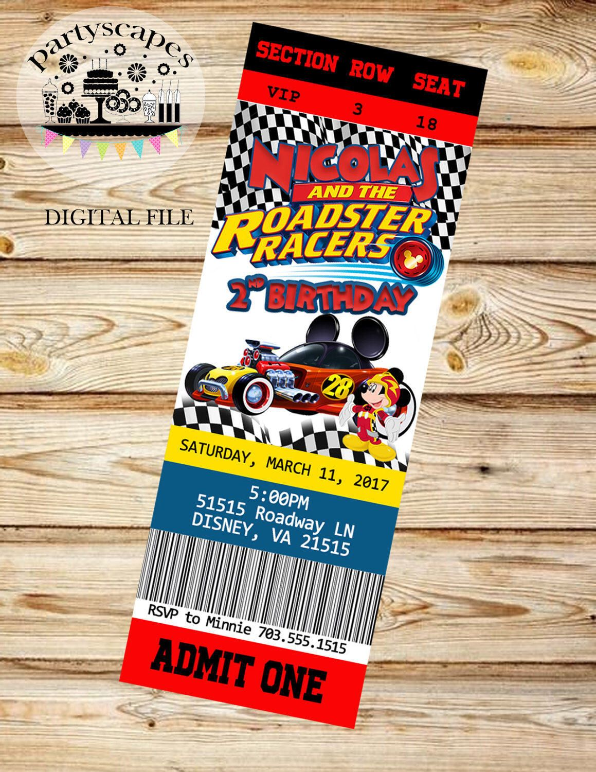 Digital Mickey And The Roadster Racers Birthday Invitation Ticket