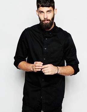 ASOS Denim Shirt In Longline With Long Sleeves