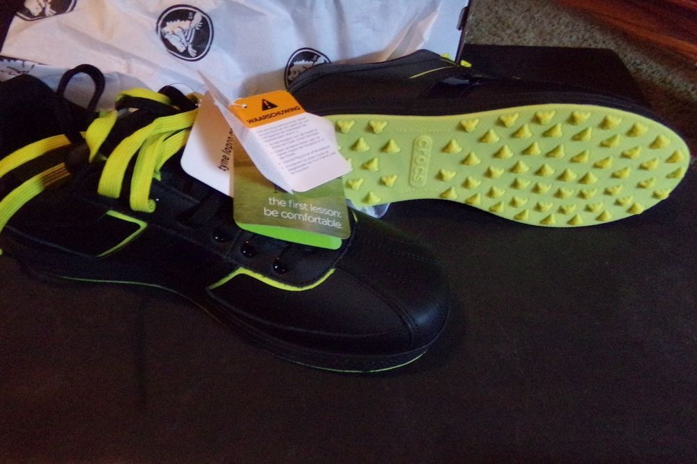 NEW Crocs Tyne Lo Pro Black/ Citrus Lime Golf Shoes Hank