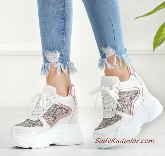 2020 Gelin Spor Ayakkabi Modelleri Beyaz Platform Topuklu Tasli Sneakers Bayan Ayakkabi Topuklular Ayakkabilar