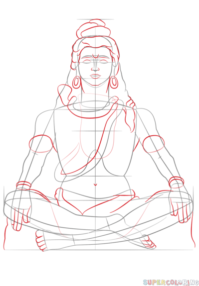 how to draw lord shiva step by step drawing tutorials for kids and beginners