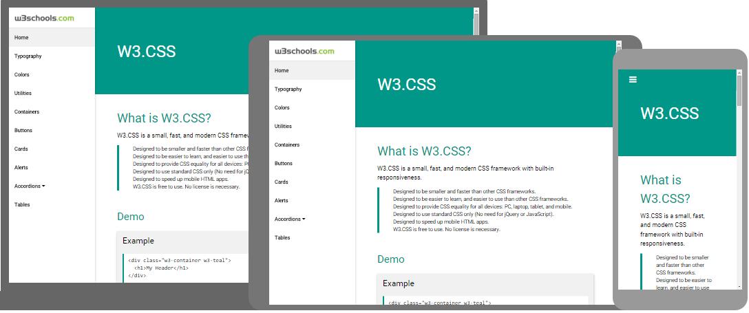 HTML5 Script Frameworks For Responsive Site Bulid W3CSS