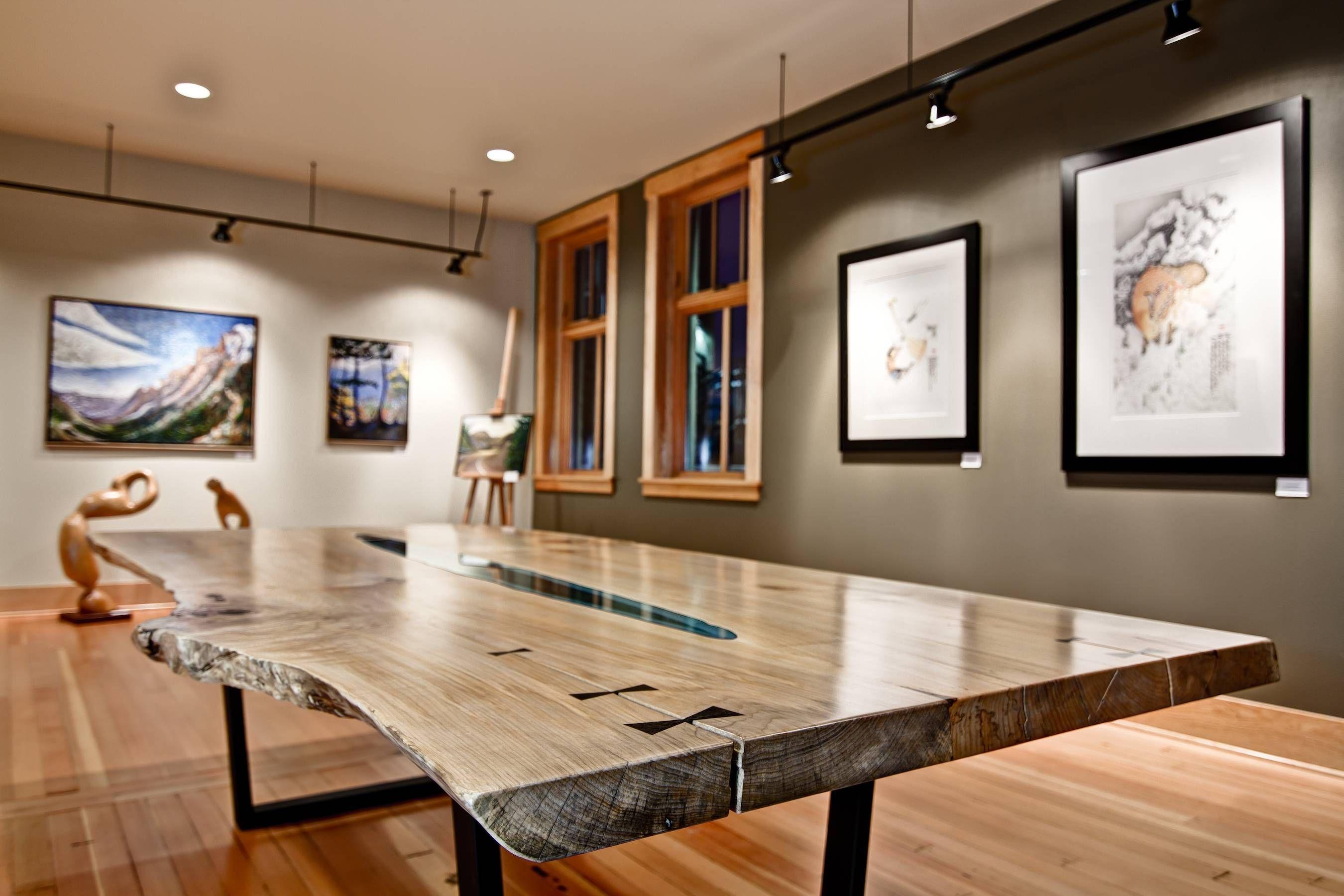 Credenza Con Vidrio : Mesas de madera incrustadas con ríos y lagos vidrio