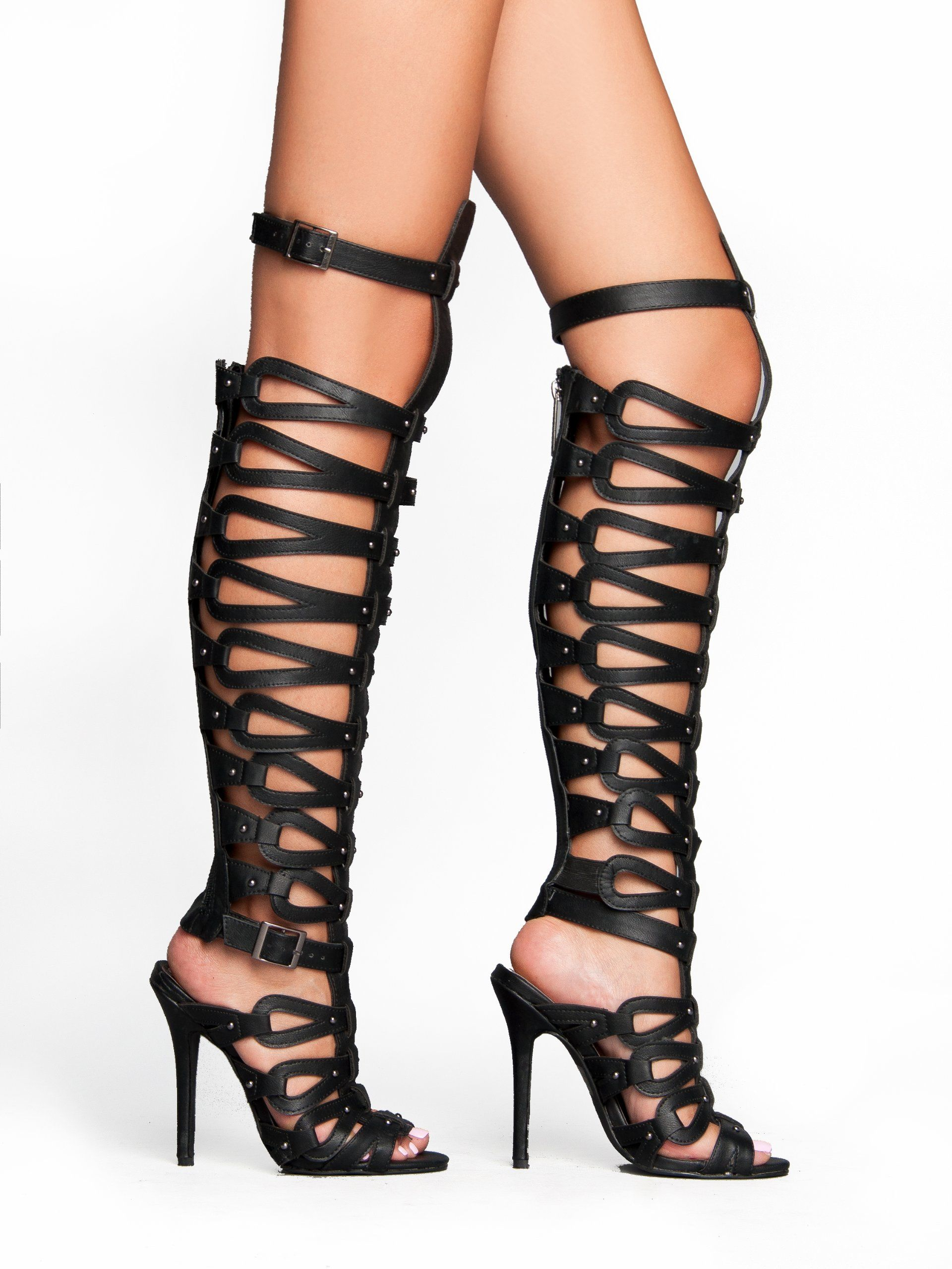 Breckelle Diva-31 Strappy Studded Gladiator Knee High Heel