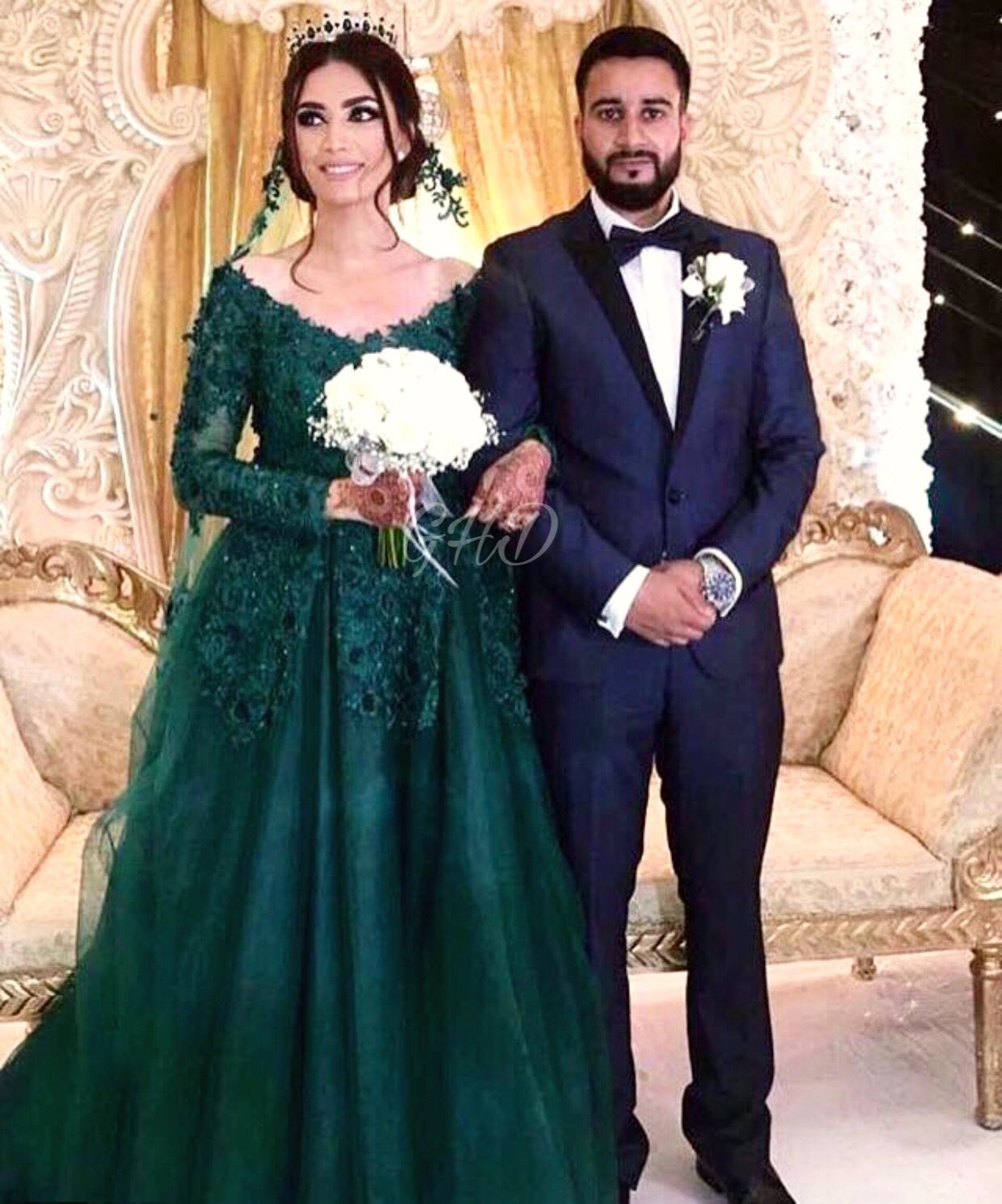 Afghan Wedding Gowns: Afghan Style Nekah# Green Dress# Wedding
