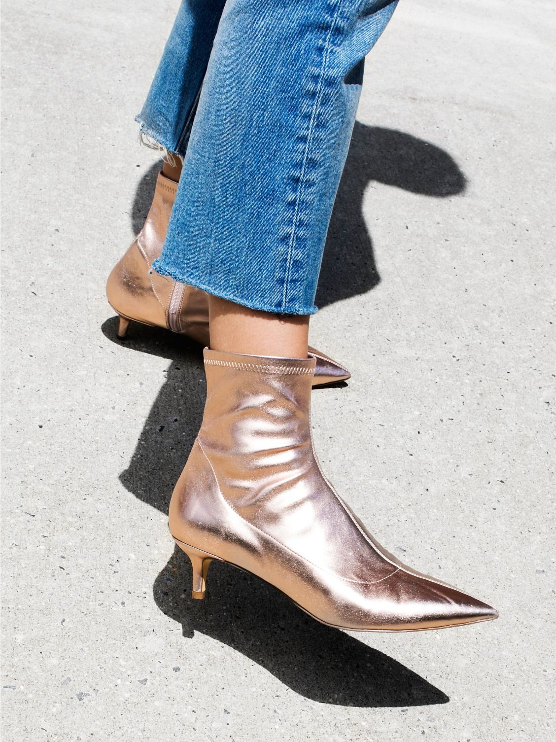 31852538176 FP Collection Rose Gold Marilyn Kitten Heel Boot at Free People Clothing  Boutique