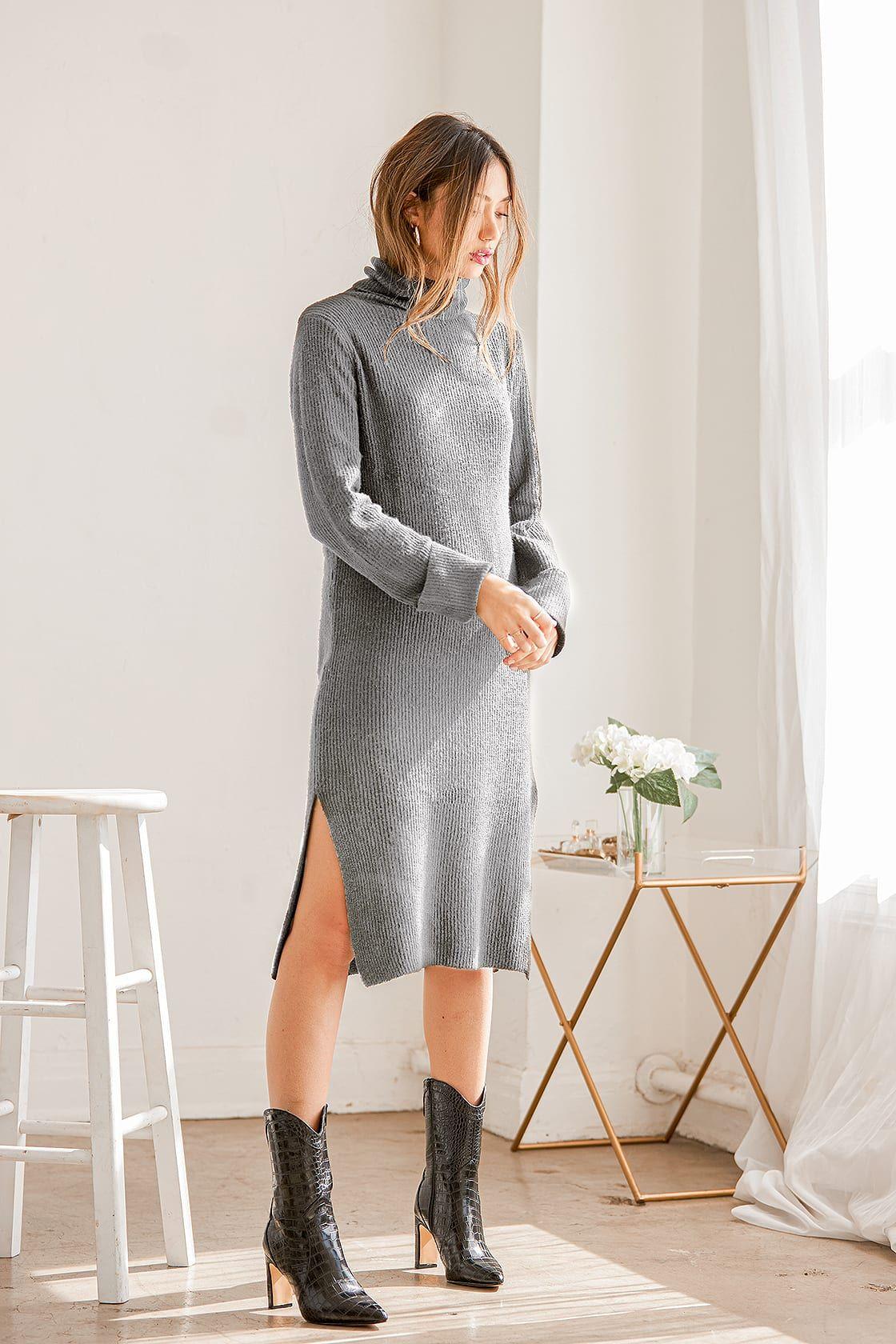 Snuggled Up Light Grey Knit Turtleneck Midi Sweater Dress Sweater Dress Midi Sweater Dress Sweater Dress Women [ 1680 x 1120 Pixel ]