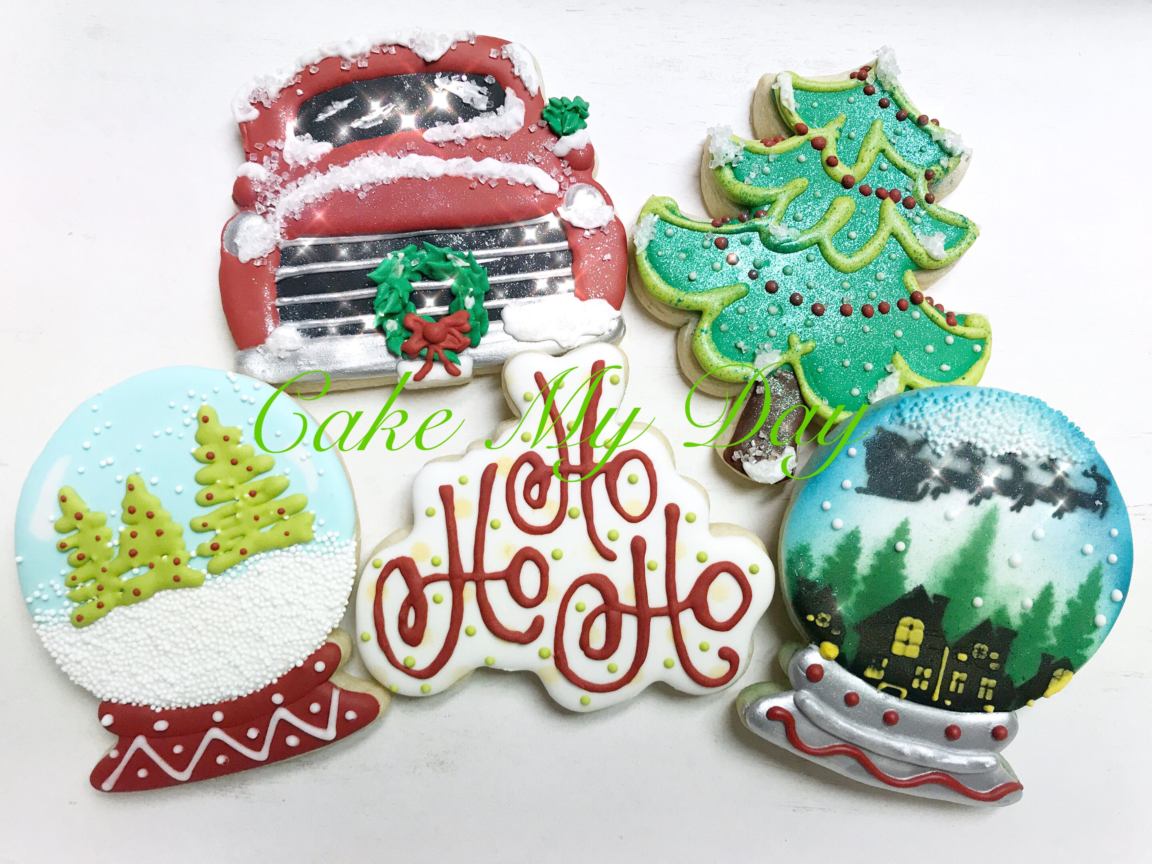Custom Christmas Cookies Made By Me At Cake My Day At Facebook Com