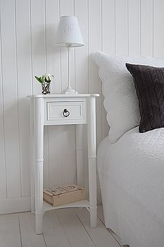 Tall Narrow Bedside Table From The White Lighthouse