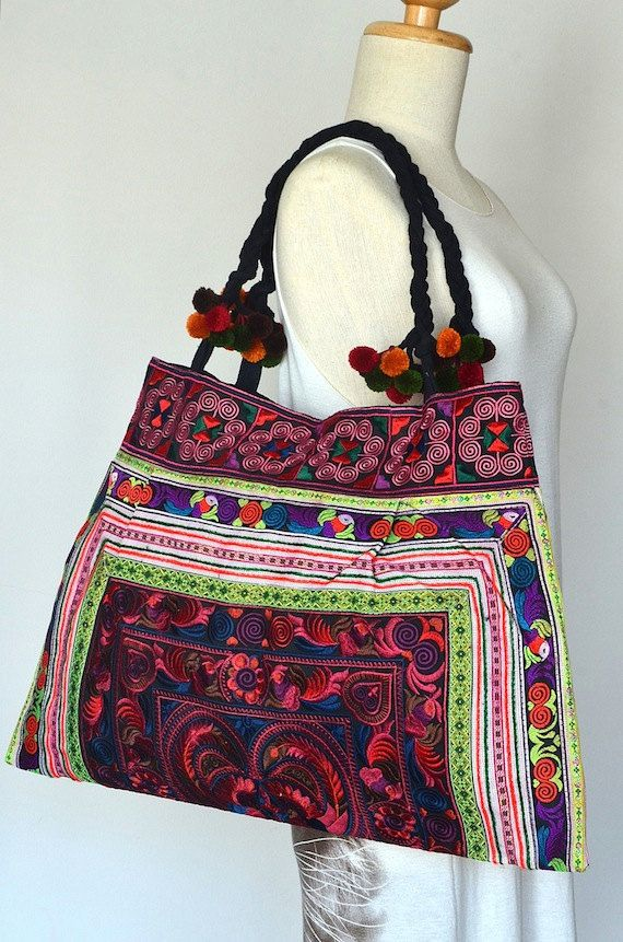 Hill Tribe Embroidered Shopping Tote Bag Hmong by Dollypun on Etsy