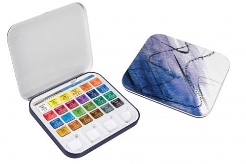 Travel set Aquafine 24 Watercolour painting half pans