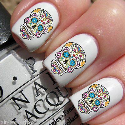 20x Girly Sugar Skulls Multi Coloured Tattoo Nail Decals Water