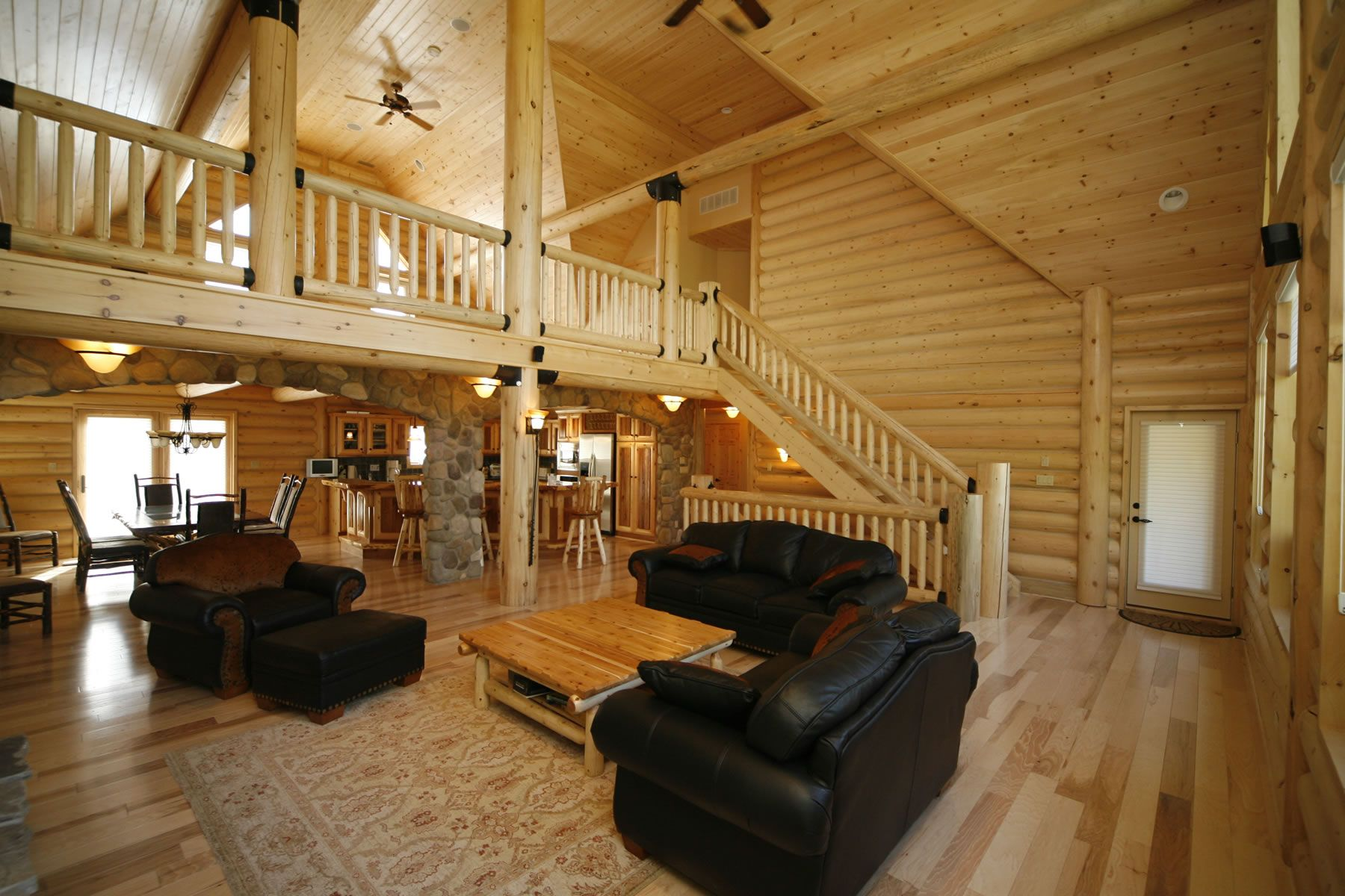 Log Home Interiors | Whisper Creek Log Homes | Oke Woodsmith Building  Systems Inc.