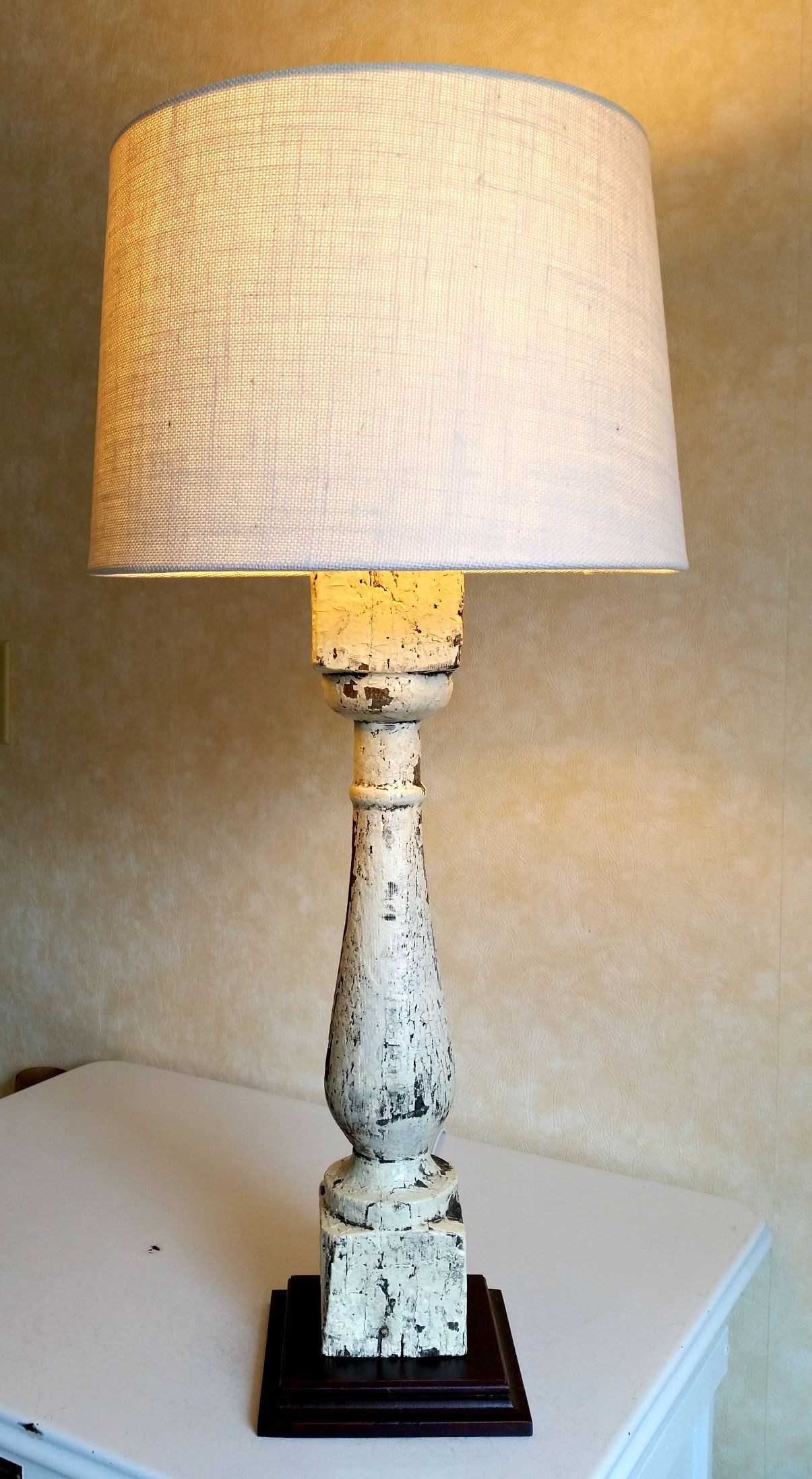 Salvaged Farmhouse Baluster Repurposed Into Diy Bedside Table Lamp Make A Lamp Bedside Table