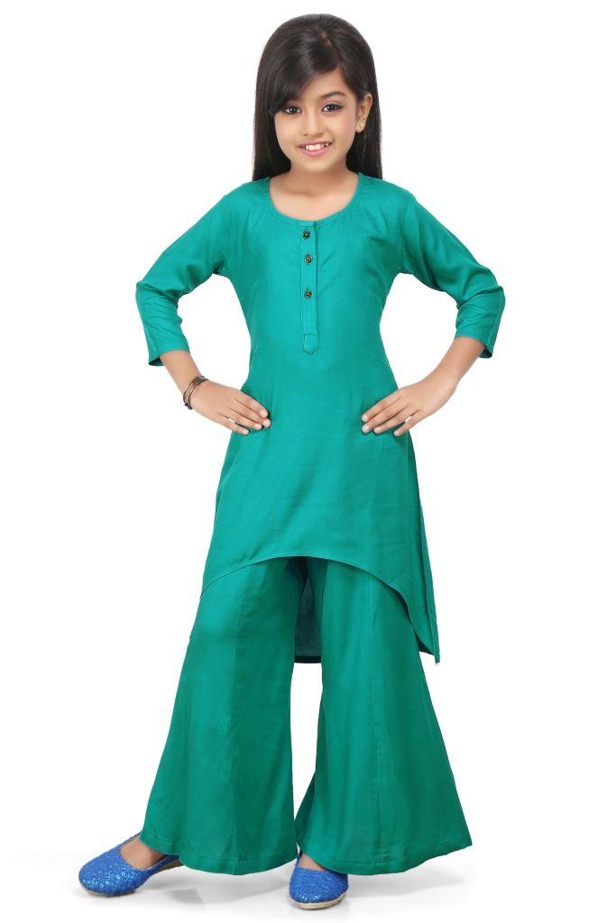 680c18c6f4 Plain Rayon Asymmetric Suit in Teal Green | girls salwar kameez ...