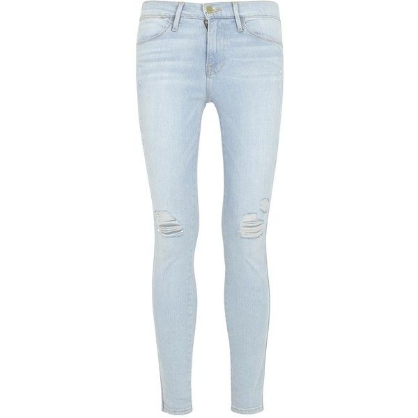 Frame Denim Le High Skinny Blue Ripped Jeans ($65) ❤ liked on Polyvore featuring jeans, pants, bottoms, destructed skinny jeans, skinny leg jeans, distressed skinny jeans, faded blue jeans and mid rise skinny jeans