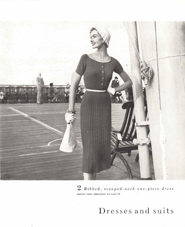 Sylvia Dress • 1950s Nautical Knitting Frock • 50s Vintage Vogue ...