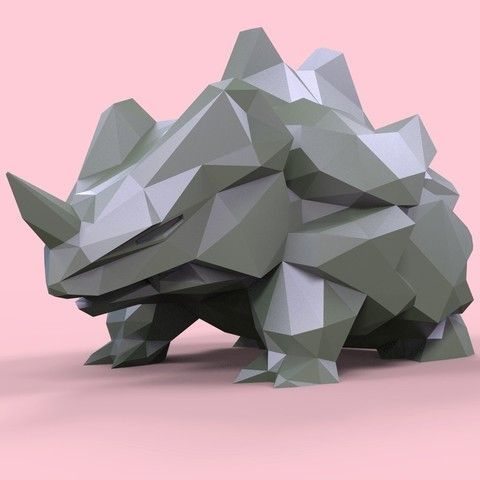 RHYHORN LOW-POLY POKEMON 3D model, Collection model a new version ready for… Maybe something for 3D Printer Chat?