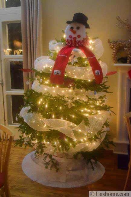 White Lights Snowman Tree | holiday•christmas/lights | Pinterest ...