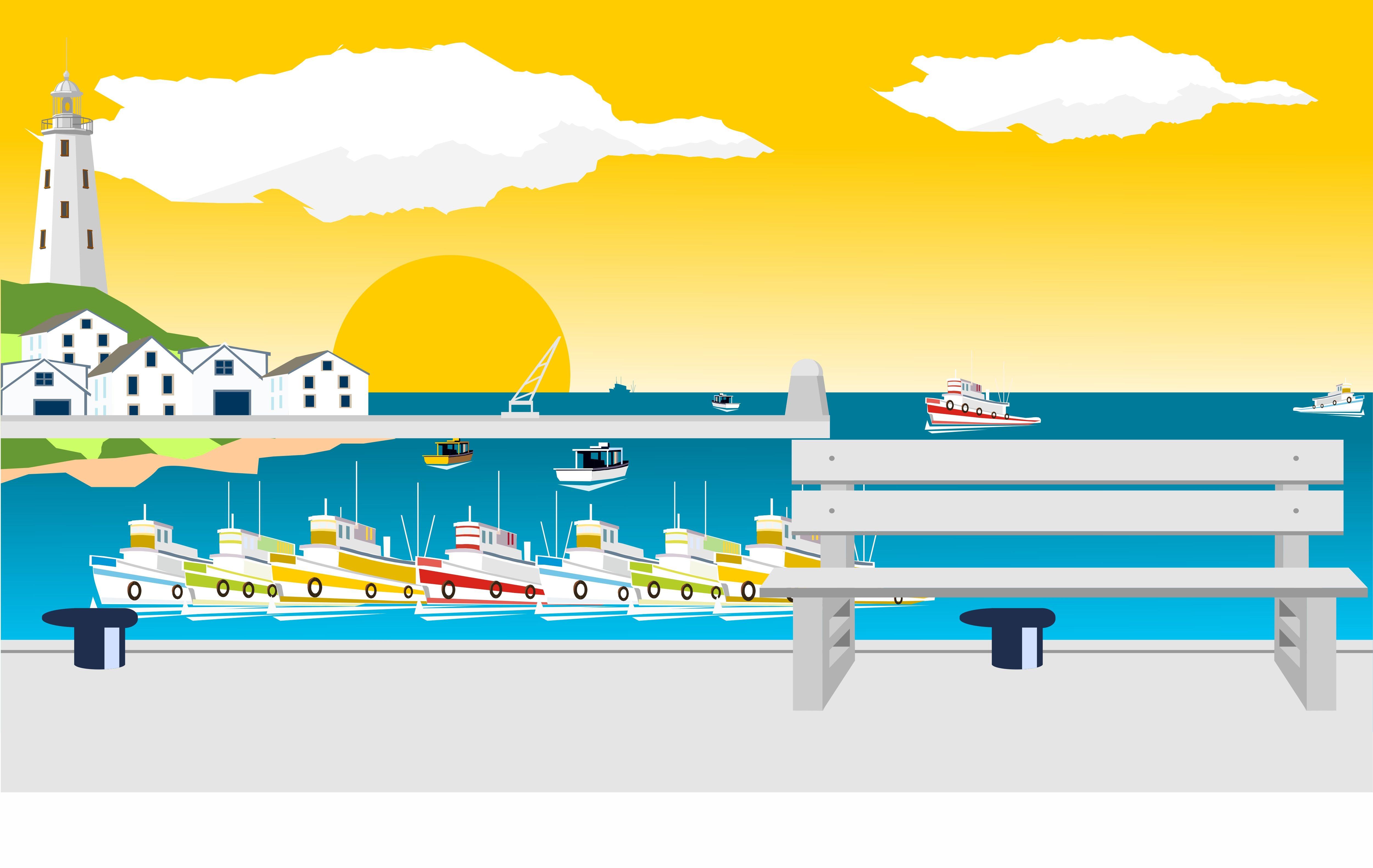 puerto ilustración dibujo  ilustraciones puerto