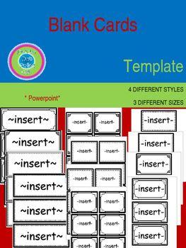 Editable Blank Cards Templates 4 Designs 3 Different Sizes Blank Card Template Blank Cards Card Template