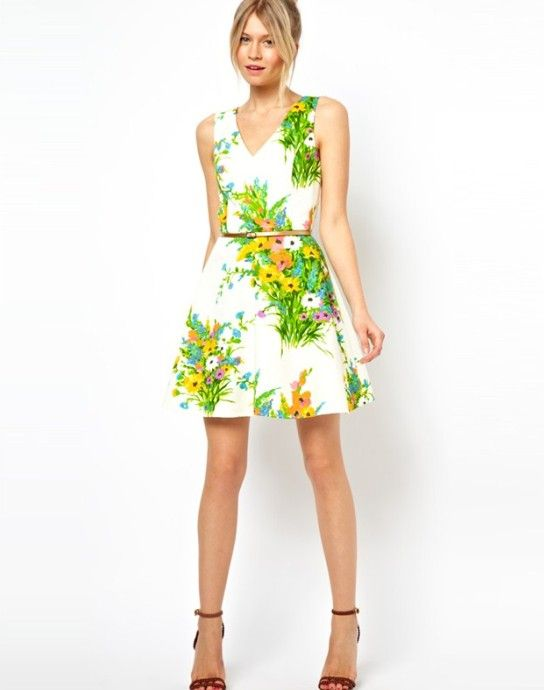 green floral dress   Flower V Neck Sleeveless Dress Green