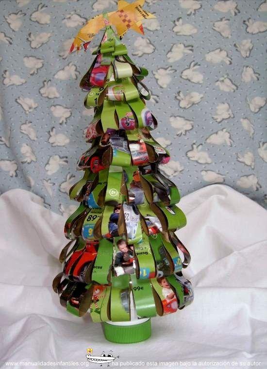rboles de navidad con reciclados para nios