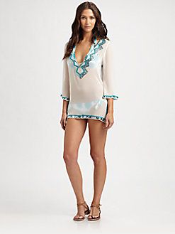 Milly - Silk Palette-Trim Swimsuit Coverup: if it were not shere & longer