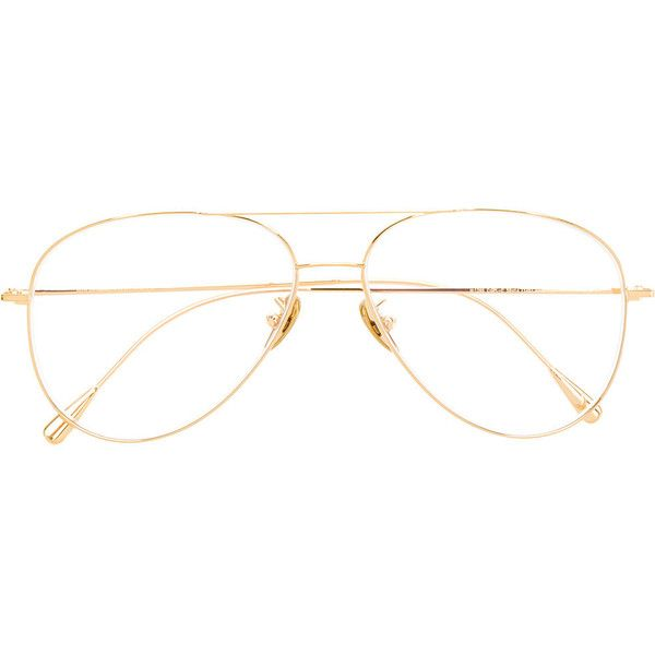 Cutler & Gross aviator framed glasses (1.645 BRL) ❤ liked on Polyvore featuring accessories, eyewear, eyeglasses, metallic, cutler and gross glasses, clear lens aviators, aviator eye glasses, cutler and gross eyeglasses and lens glasses