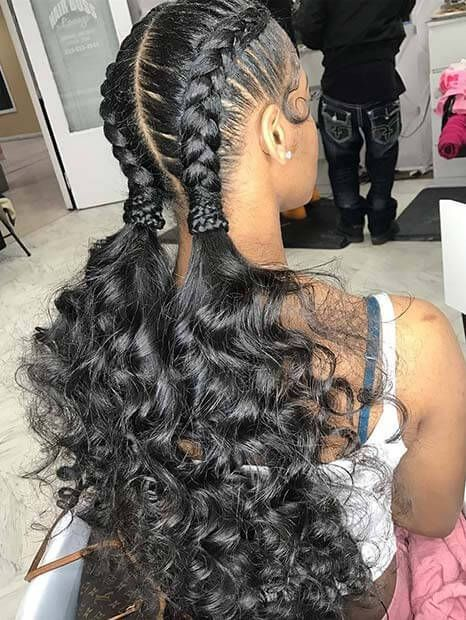 Feed-In Braids Hairstyle With High Curly Ponytail # ...