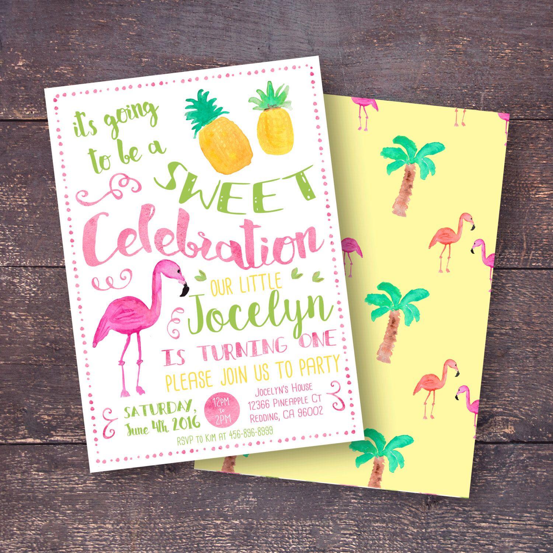 pineapple invitation flamingo invitation tropical party invitation