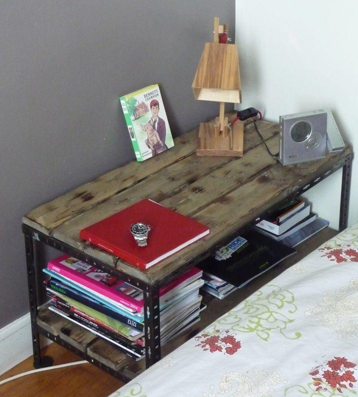 Industrial coffee table  table basse chevet metal bois industriel 4