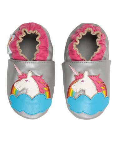 Look what I found on #zulily! Silver & Pink Unicorn Leather Bootie #zulilyfinds