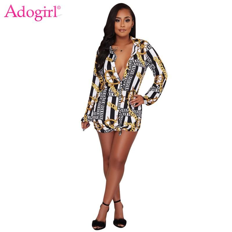 bf36e12f Adogirl -Black White Striped Gold Chain Print Fashion Shirt Dress Sexy Turn  Down Collar Long Sleeve Party Dress