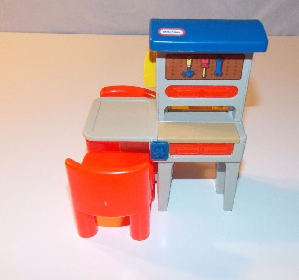 Little tikes victorian table and chairs - Vintage Little Tikes Tykes Dollhouse Workbench Tool Bench Two Red Chairs