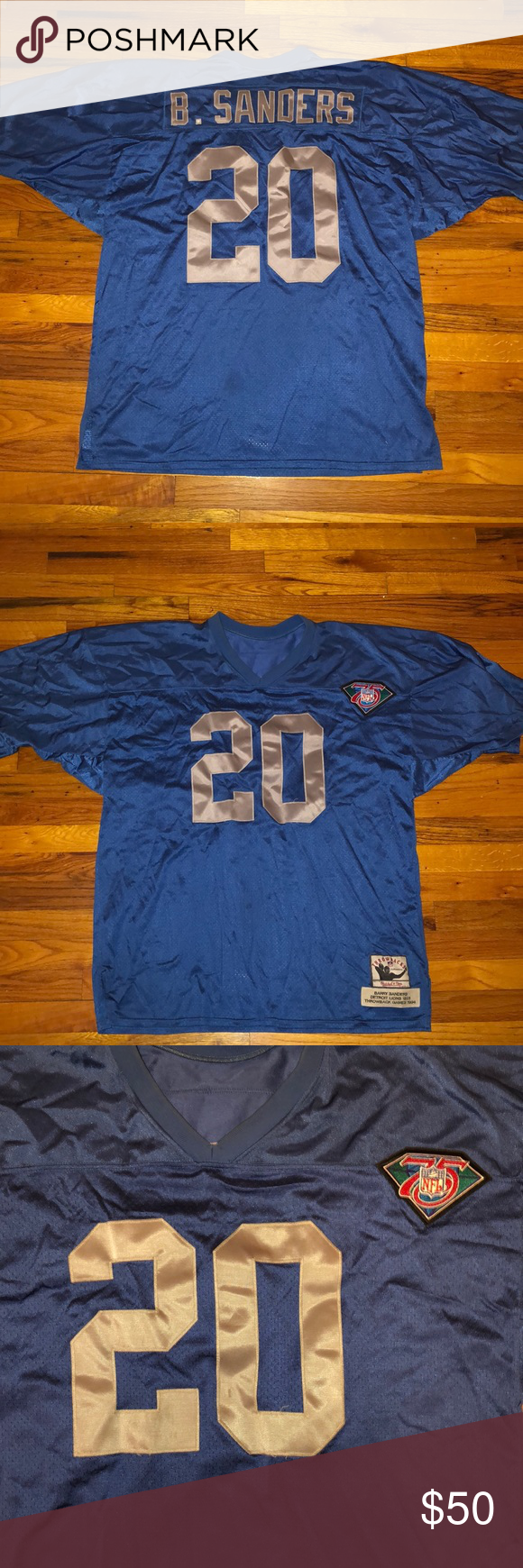 best service d8adb 3d534 Barry Sanders Mitchell & Ness Throwback Jersey Preowned ...