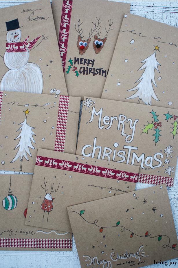 frugal holidays easy diy washi tape christmas cards. Black Bedroom Furniture Sets. Home Design Ideas