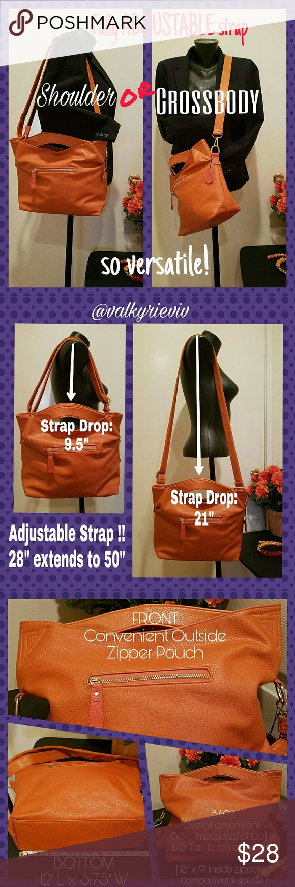 """Leather Tote bag with ADJUSTABLE STRAPS Leather Bag in rich, vibrant Caramel/Camel color. Can't decide between a shoulder bag or a crossbody bag? Why not have BOTH in ONE?!! This gorgeous tote has an adjustable strap to accommodate your every carrying-style needs. Immaculately CLEAN inside and out! Used Once. Like new. Brand """"LGFD"""" printed inside lining. Handles, zippered main compartment, leather swatch. SEE PICS for dimensions and details. No Brand Bags Totes"""