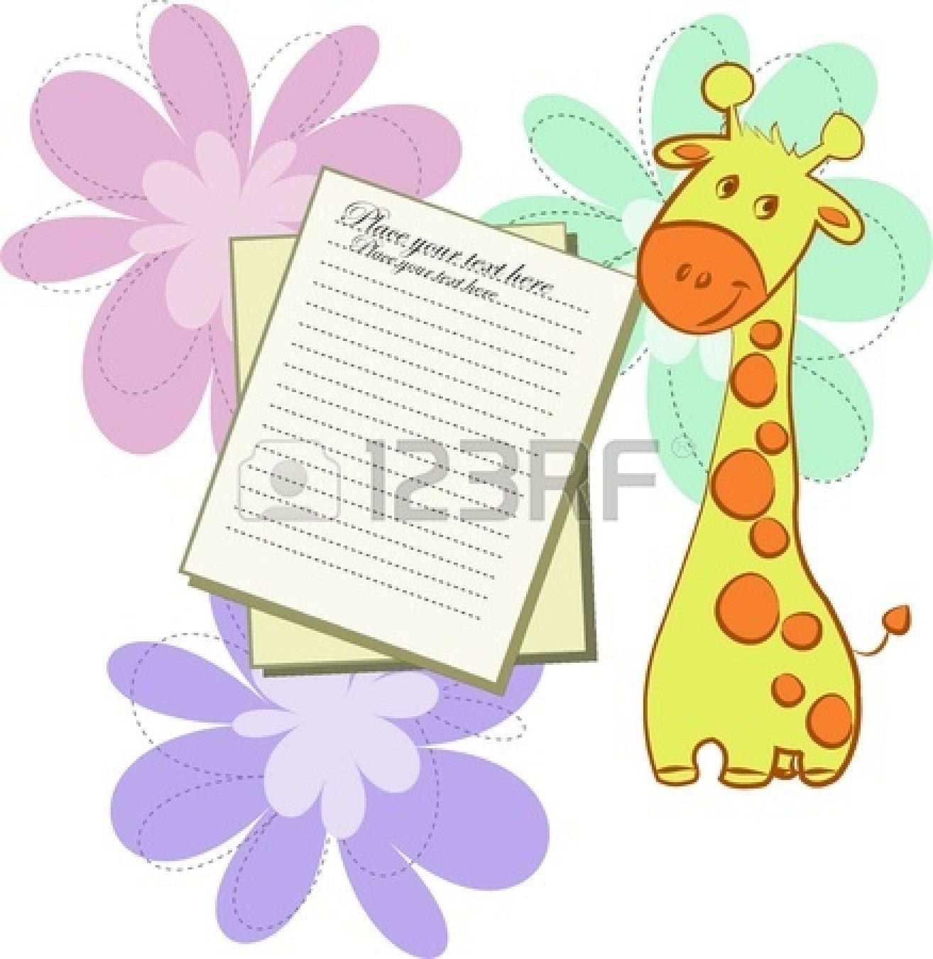 Brillante Con Giraffe E Fogli Di Carta Su Uno Sfondo Bianco Con