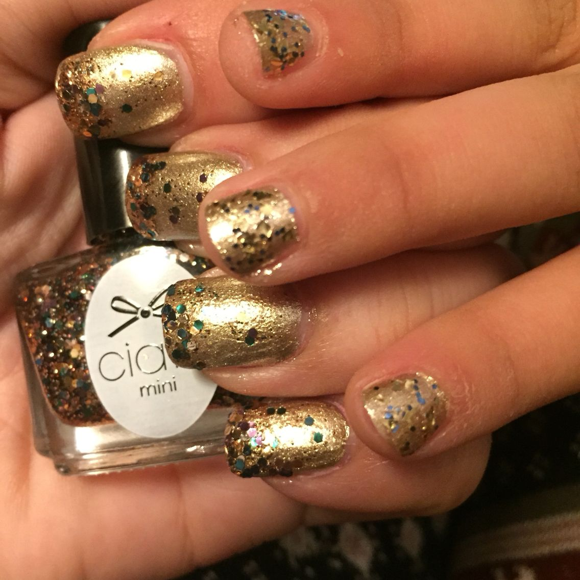Mother daughter gold and glitter birthday manicure! nails