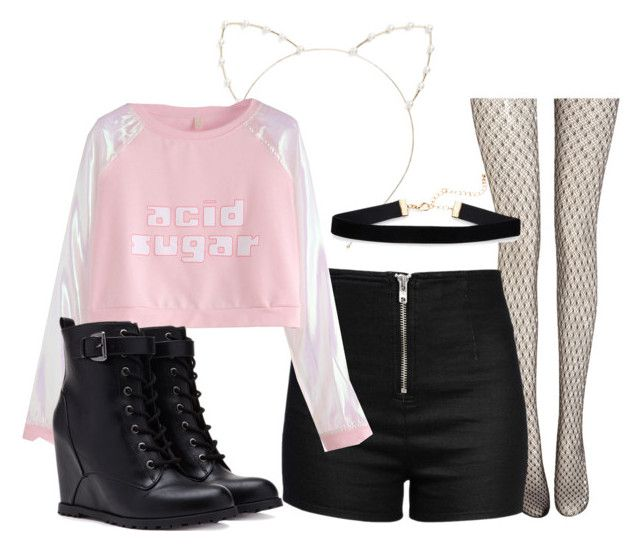 Sem título #378 by momomoe on Polyvore featuring moda, Love Moschino, Wolford, Forever 21 and Cara