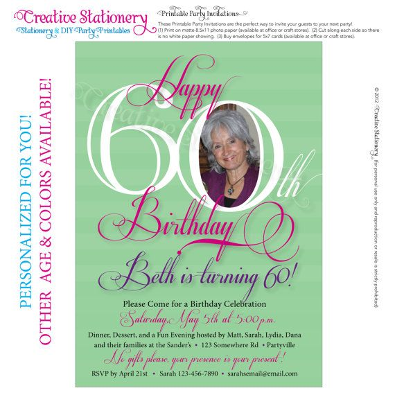 Womens 60th Birthday Printable Milestone Invitations Customized Just For You Other Age And Color Options Available On Etsy 1400