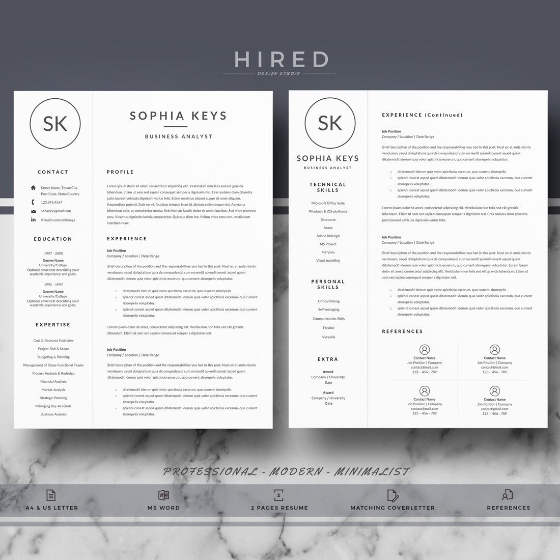 instant download professional resume template for word