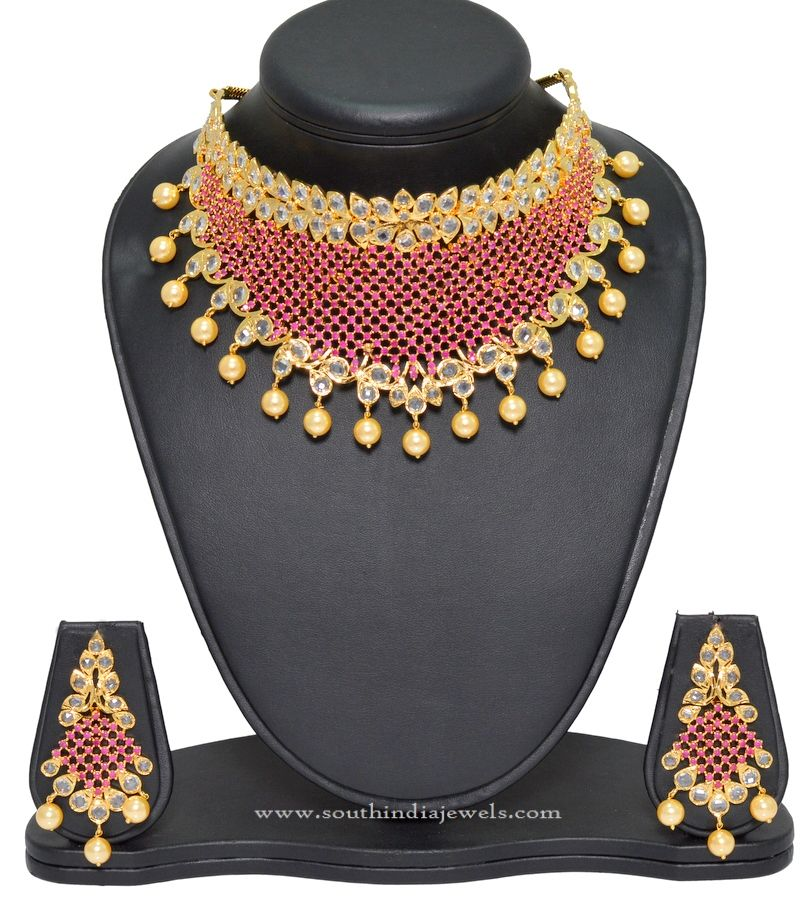 3e6528aa38 1 Gram Gold Necklace Set with Price | Choker Necklace Designs | Gold ...